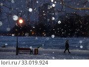 Купить «Мужчина идет по ночному парку города Москвы во время сильного снегопада зимой», фото № 33019924, снято 2 февраля 2020 г. (c) Николай Винокуров / Фотобанк Лори