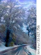 Купить «Winter village road after heavy snow fall», иллюстрация № 33027756 (c) Парушин Евгений / Фотобанк Лори