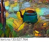 Купить «Teapot under a birch», иллюстрация № 33027764 (c) Парушин Евгений / Фотобанк Лори