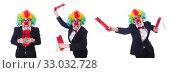Купить «Businessman clown isolated on white», фото № 33032728, снято 8 мая 2013 г. (c) Elnur / Фотобанк Лори