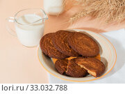 Купить «Healthy food, breakfast, cereal snack. Fresh milk in a glass jug and oatmeal cookies on the table, an armful of ears of corn on a peach color background. A balanced diet, protein and carbohydrates», фото № 33032788, снято 30 ноября 2019 г. (c) Светлана Евграфова / Фотобанк Лори