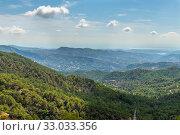 Купить «View from Olymbos, the highest peak of the island of Cyprus. Troodos mountains», фото № 33033356, снято 8 октября 2019 г. (c) Володина Ольга / Фотобанк Лори