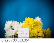 Купить «bouquet of white chrysanthemums with a greeting card for mom», фото № 33033364, снято 5 февраля 2020 г. (c) Peredniankina / Фотобанк Лори