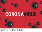 Купить «Text CORONAVIRUS on red background with strain model of coronavirus 2019-nCoV», фото № 33034320, снято 22 января 2020 г. (c) Kira_Yan / Фотобанк Лори