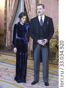 King Felipe VI of Spain, Queen Letizia of Spain Receive Foreign Ambassadors at Royal Palace on February 5, 2020 in Madrid, Spain. Редакционное фото, фотограф Manuel Cedron / age Fotostock / Фотобанк Лори