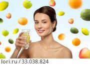 Купить «woman drinking water with lemon and ice», фото № 33038824, снято 30 ноября 2019 г. (c) Syda Productions / Фотобанк Лори