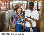 Portrait of smiling workers of horse stable. Стоковое фото, фотограф Яков Филимонов / Фотобанк Лори
