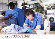 Купить «Female laundry worker during daily work», фото № 33039348, снято 15 января 2019 г. (c) Яков Филимонов / Фотобанк Лори