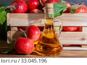 Купить «Homemade fruit canning, diet healthy food and drink. Apple cider vinegar, juice, salad dressing from a crop of ripe red garden fruits in a glass jug on a wooden rustic background», фото № 33045196, снято 22 сентября 2019 г. (c) Светлана Евграфова / Фотобанк Лори