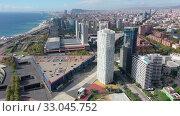 Купить «Panoramic view from the drone of residential area Diagonal Mar. Barcelona. Spain», видеоролик № 33045752, снято 4 октября 2019 г. (c) Яков Филимонов / Фотобанк Лори