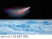 Купить «Comet flying in space over white clouds. Comet flying in space over planet Earth. Space landscape. Starry sky with falling comet above surface of Earth. View of clouds over Earth from space», фото № 33047356, снято 14 июля 2020 г. (c) easy Fotostock / Фотобанк Лори