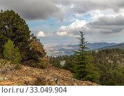 Купить «View from Mount Olympus, highest peak of the island of Cyprus.», фото № 33049904, снято 8 октября 2019 г. (c) Володина Ольга / Фотобанк Лори