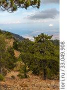 Купить «View from Mount Olympus, highest peak of the island of Cyprus.», фото № 33049908, снято 8 октября 2019 г. (c) Володина Ольга / Фотобанк Лори