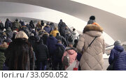 People traffic in the underground rail transport. Стоковое видео, видеограф Алексей Хромушин / Фотобанк Лори