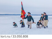 Купить «Russia, Samara, February 2017: Attack of Russian soldiers. 1812 year. Historical reconstruction.», фото № 33050808, снято 23 февраля 2017 г. (c) Акиньшин Владимир / Фотобанк Лори