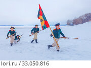 Купить «Russia, Samara, February 2017: Attack of Russian soldiers. 1812 year. Historical reconstruction.», фото № 33050816, снято 23 февраля 2017 г. (c) Акиньшин Владимир / Фотобанк Лори
