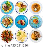 Купить «Collection of delicious homemade and restaurant dishes on round plates», фото № 33051356, снято 31 марта 2020 г. (c) Яков Филимонов / Фотобанк Лори