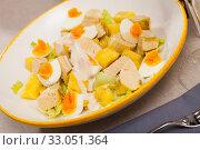 Купить «Salad of chicken with pineapple», фото № 33051364, снято 29 февраля 2020 г. (c) Яков Филимонов / Фотобанк Лори