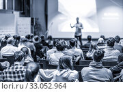 Купить «Male public peaker giving presentation on business conference event.», фото № 33052964, снято 9 декабря 2019 г. (c) Matej Kastelic / Фотобанк Лори
