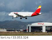 Купить «Iberia airbus landing in Barcelona-El Prat Airport», фото № 33053324, снято 23 января 2020 г. (c) Яков Филимонов / Фотобанк Лори