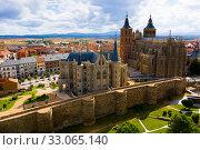 Aerial view on the Episcopal Palace of Astorga. Spain (2019 год). Стоковое фото, фотограф Яков Филимонов / Фотобанк Лори
