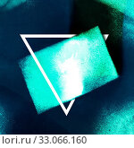 Купить «Abstract neon background with a triangular frame with a place for a quote or other text. Teal and dark blue texture with copy space. Surreal business card», фото № 33066160, снято 2 апреля 2020 г. (c) easy Fotostock / Фотобанк Лори