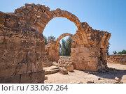 Купить «The remains of Saranta Kolones castle. Paphos Archaeological Park. Cyprus», фото № 33067264, снято 8 июня 2018 г. (c) Serg Zastavkin / Фотобанк Лори