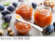 Купить «Fresh plum jam», фото № 33068320, снято 18 октября 2019 г. (c) Надежда Мишкова / Фотобанк Лори