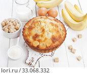 Купить «Semolina cake with bananas», фото № 33068332, снято 3 апреля 2019 г. (c) Надежда Мишкова / Фотобанк Лори