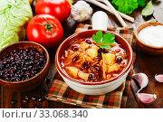 Купить «Cabbage soup with red beans», фото № 33068340, снято 1 июля 2019 г. (c) Надежда Мишкова / Фотобанк Лори