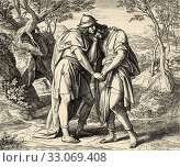 David and Jonathan. Samuel book. Jonathan and David cried in each other's arms. Sacred biblical history Old Testament. Old engraving from the book Historia Sagrada 1920 Juan Lagui Lliteras. Стоковое фото, фотограф Jerónimo Alba / age Fotostock / Фотобанк Лори
