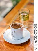 Traditional turkish coffee. Street cafe. Istanbul, selective focus. Избирательный, мягкий фокус. Стоковое фото, фотограф Gagara / Фотобанк Лори