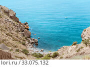 Купить «Meganom mountain range and beach, as well as the peninsula and cape in southeastern Crimea between», фото № 33075132, снято 20 июля 2016 г. (c) katalinks / Фотобанк Лори