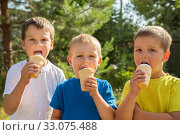 Three kids with ice cream. Стоковое фото, фотограф Юлия Бабкина / Фотобанк Лори