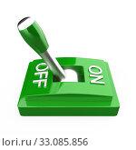 Купить «The green 3D toggle switch side view - OFF», фото № 33085856, снято 27 февраля 2020 г. (c) PantherMedia / Фотобанк Лори