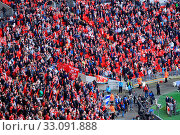 Купить «LONDON - APRIL 14 : Supporters watch the football game of Liverpool - Everton Semi Final FA Cup Crowd at Wembley Arena Staduim on April 14, 2012 in London, England United Kingdom.», фото № 33091888, снято 14 апреля 2012 г. (c) age Fotostock / Фотобанк Лори