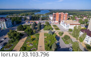 Aerial view on Azov city. Russia (2019 год). Стоковое фото, фотограф Арестов Андрей Павлович / Фотобанк Лори
