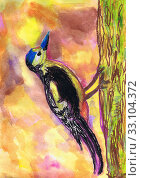 Купить «Дятел сидит на стволе дерева. Детский рисунок. Акварель, пастель», иллюстрация № 33104372 (c) Ирина Борсученко / Фотобанк Лори