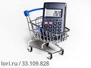 Купить «Калькулятор с цифрами 2020 на экране в магазинной тележке на белом фоне», фото № 33109828, снято 15 февраля 2020 г. (c) Николай Винокуров / Фотобанк Лори