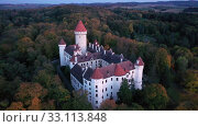 Купить «Aerial view of historical medieval Konopiste castle, Czech Republic», видеоролик № 33113848, снято 12 октября 2019 г. (c) Яков Филимонов / Фотобанк Лори