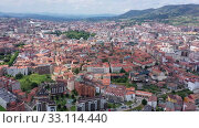 Купить «Aerial view of Oviedo city with buildings and lanscape, Asturias, Spain», видеоролик № 33114440, снято 15 июля 2019 г. (c) Яков Филимонов / Фотобанк Лори