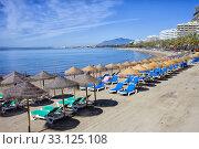 Beach on Costa del Sol in Marbella. Стоковое фото, фотограф Artur Bogacki / PantherMedia / Фотобанк Лори