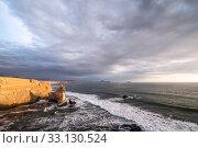 Купить «Cathedral Rock Formation, Peruvian Coastline, Rock formations at the coast, Paracas National Reserve, Paracas, Ica Region, Peru.», фото № 33130524, снято 8 апреля 2020 г. (c) PantherMedia / Фотобанк Лори