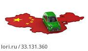 Map china and green car on white background. Isolated 3D illustration. Стоковая иллюстрация, иллюстратор Ильин Сергей / Фотобанк Лори