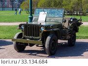Купить «Willys MB (Виллис) — американский армейский автомобиль повышенной проходимости времён Второй мировой войны», эксклюзивное фото № 33134684, снято 1 мая 2019 г. (c) Александр Щепин / Фотобанк Лори