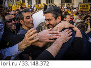Riccardo Fraccaro of 5 Star Movement with supporters during the rally of 5 Star Movement to defend a recent law that cut parliamentary pensions in Rome, ITALY-15-02-2020. Редакционное фото, фотограф Alessandro Serrano' / AGF/Alessandro Serrano' / / age Fotostock / Фотобанк Лори