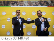 Italian Minister of Foreign affairs Luigi Di Maio, Italian Minister of justice Alfonso Bonafede during the rally of 5 Star Movement to defend a recent... Редакционное фото, фотограф Alessandro Serrano' / AGF/Alessandro Serrano' / / age Fotostock / Фотобанк Лори