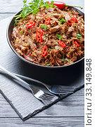Купить «spicy slow-cooked pulled beef with chili pepper», фото № 33149848, снято 5 ноября 2019 г. (c) Oksana Zh / Фотобанк Лори