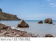 Meganom mountain range and beach, as well as the peninsula and cape in southeastern Crimea (2016 год). Стоковое фото, фотограф katalinks / Фотобанк Лори