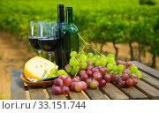 Red wine on wooden table with cheese. Стоковое фото, фотограф Яков Филимонов / Фотобанк Лори